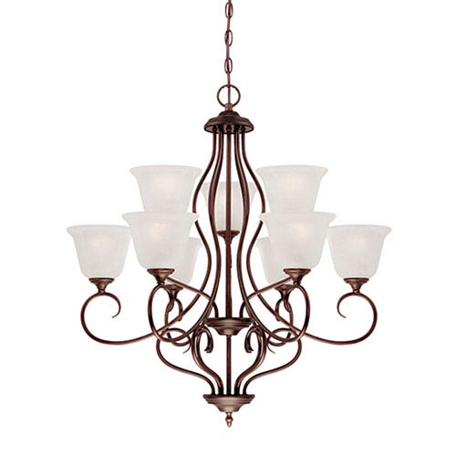 Millennium Lighting Cleveland Rubbed Bronze Nine Light Chandelier with Light India Scavo Glass