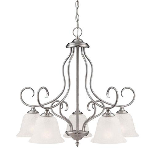 Millennium Lighting Cleveland Satin Nickel Five Light Chandelier with Light India Scavo Glass