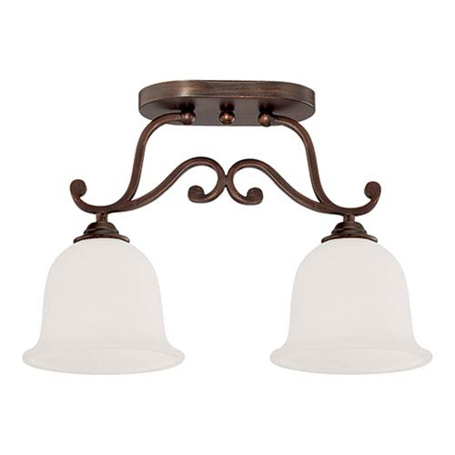 Millennium Lighting Courtney Lakes Rubbed Bronze Two Light Semi-Flush Fixture with Turinian Scavo Glass