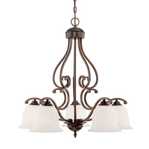 Courtney Lakes Rubbed Bronze Five Light Chandelier with Turinian Scavo Glass