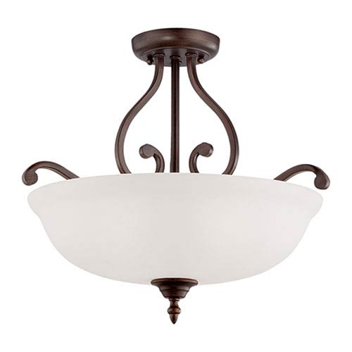 Courtney Lakes Rubbed Bronze Three Light Semi-Flush Fixture with Turinian Scavo Glass