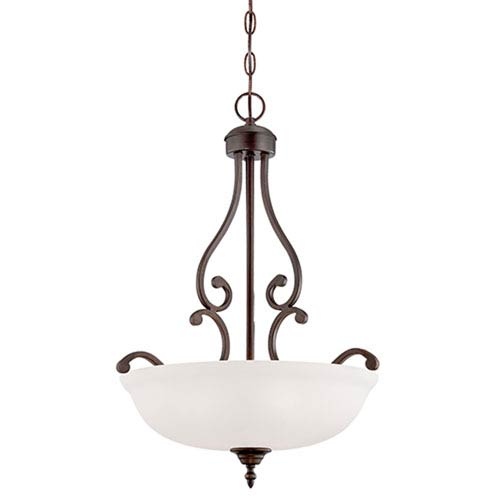 Millennium Lighting Courtney Lakes Rubbed Bronze 24 x 18-Inch Three Light Pendant with Turinian Scavo Glass