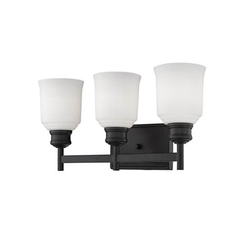 Burbank Matte Black Three-Light Vanity with Etched White Glass