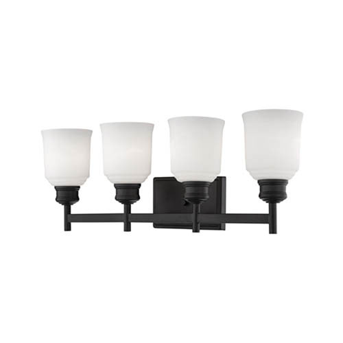 Millennium Lighting Burbank Matte Black Four-Light Vanity with Etched White Glass