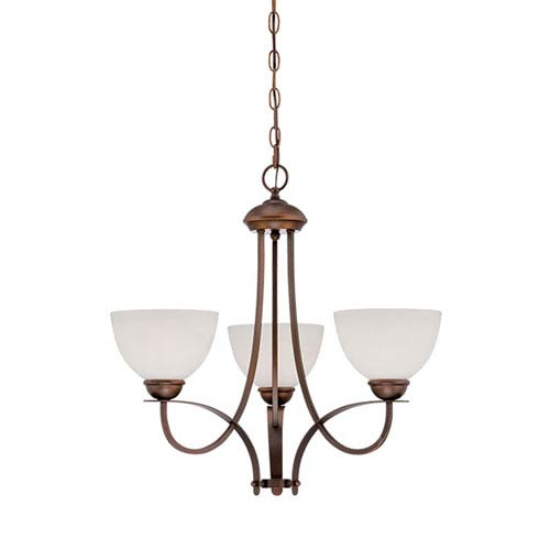 Millennium Lighting Rubbed Bronze 22.5-Inch Three-Light Chandelier with Etched White Glass