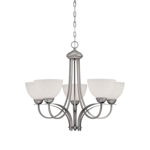 Brushed Pewter 23.5-Inch Five-Light Chandelier with Etched White Glass