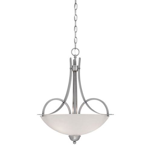 Brushed Pewter 21.5-Inch Three-Light Pendant with Etched White Glass