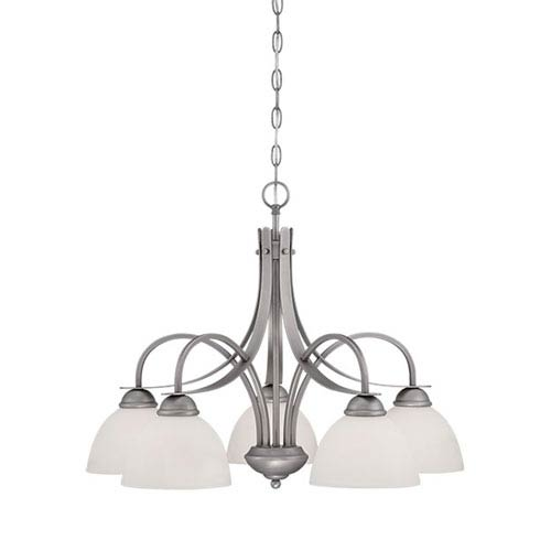 Brushed Pewter 27.5-Inch Five-Light Chandelier with Etched White Glass