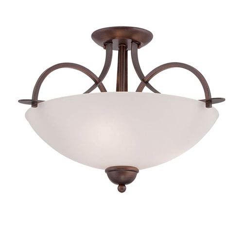 Millennium Lighting Rubbed Bronze 19.5-Inch Three-Light Semi-Flush Mount with Etched White Glass
