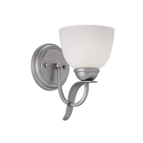 Brushed Pewter 9.5-Inch One-Light Wall Sconce with Etched White Glass