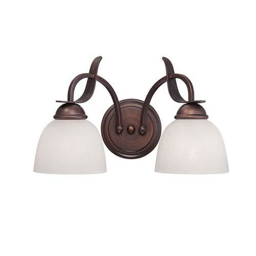 Millennium Lighting Rubbed Bronze 15-Inch Two-Light Vanity with Base Detail and Etched White Glass