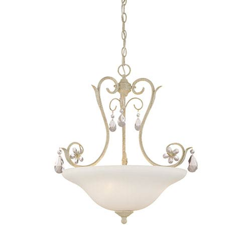 Millennium Lighting Clara Antique White Three Light Pendant with Etched White Glass