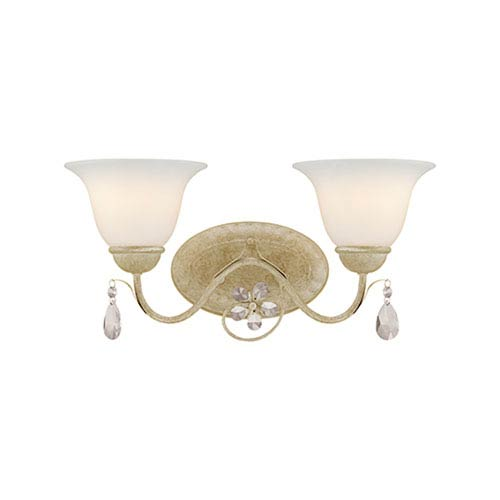 Millennium Lighting Clara Antique White Two Light Vanity Fixture with Etched White Glass