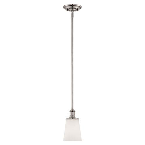 Millennium Lighting Cimmaron Satin Nickel One Light Mini Pendant with Etched White Glass