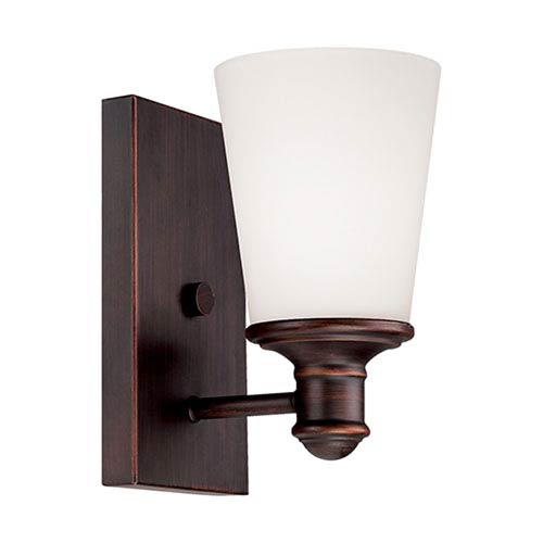 Millennium Lighting Cimmaron Rubbed Bronze One Light Sconce with Etched White Glass