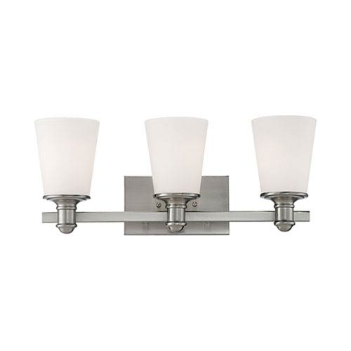 Millennium Lighting Cimmaron Satin Nickel Three Light Vanity Fixture with Etched White Glass