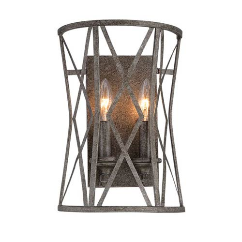 Lakewood Antique Silver 13-Inch Two-Light Wall Sconce