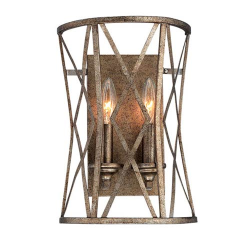 Lakewood Vintage Gold 13-Inch Two-Light Wall Sconce