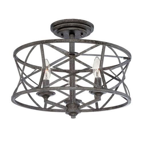 Lakewood Antique Silver 9-Inch Three-Light Semi-Flush Mount