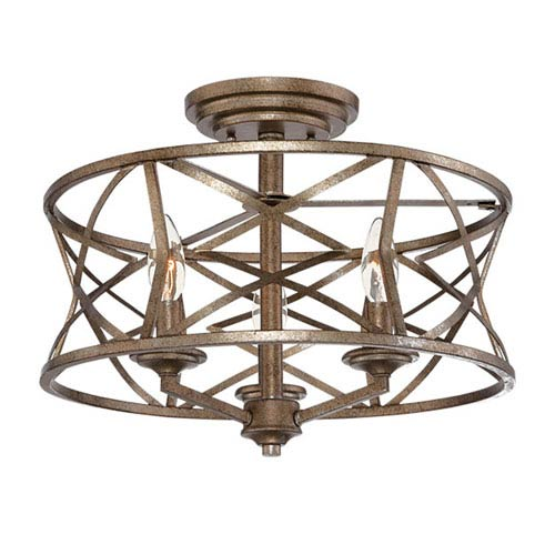 Lakewood Vintage Gold 16-Inch Three-Light Semi-Flush Mount