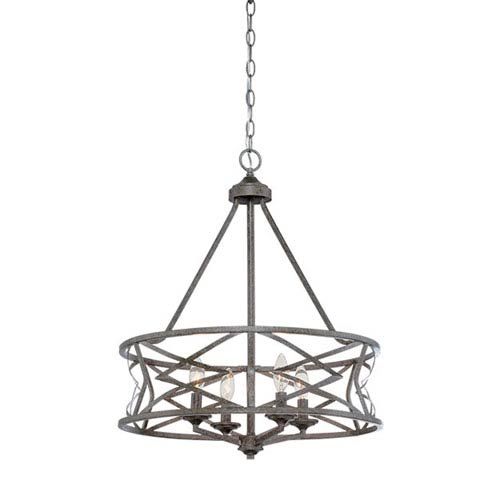 Lakewood Antique Silver 21-Inch Four-Light Chandelier