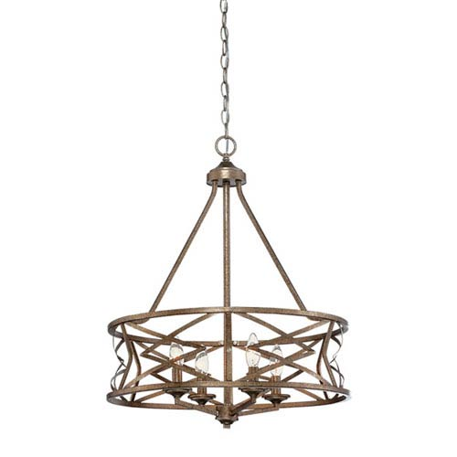 Lakewood Vintage Gold 21-Inch Four-Light Chandelier