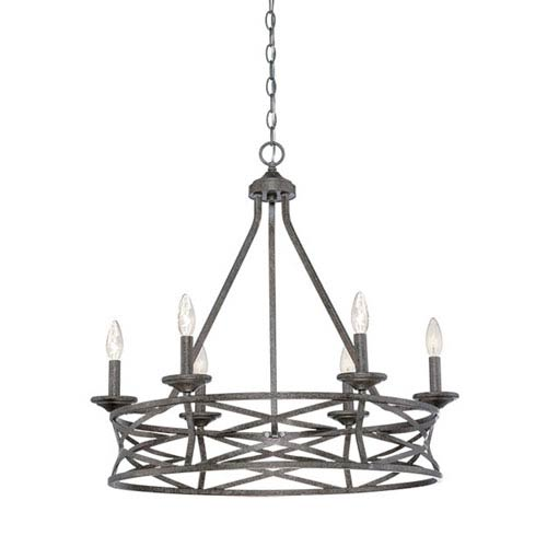 Lakewood Antique Silver 27-Inch Six-Light Chandelier