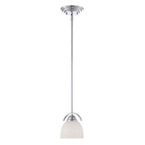 Millennium Lighting Camden Brushed Nickel 6-Inch One-Light Mini Pendant with Etched White Glass