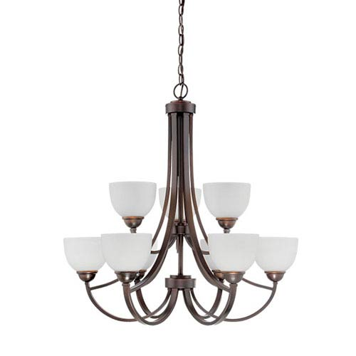 Millennium Lighting Camden Rubbed Bronze 32-Inch Nine-Light Chandelier with Etched White Glass