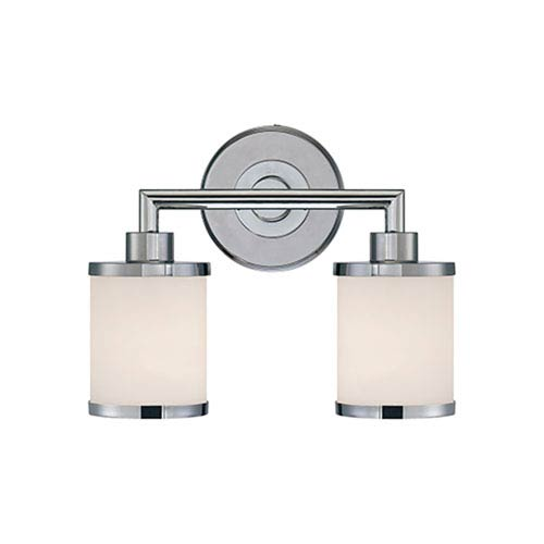 Chrome Two Light Vanity Fixture with Etched White Glass