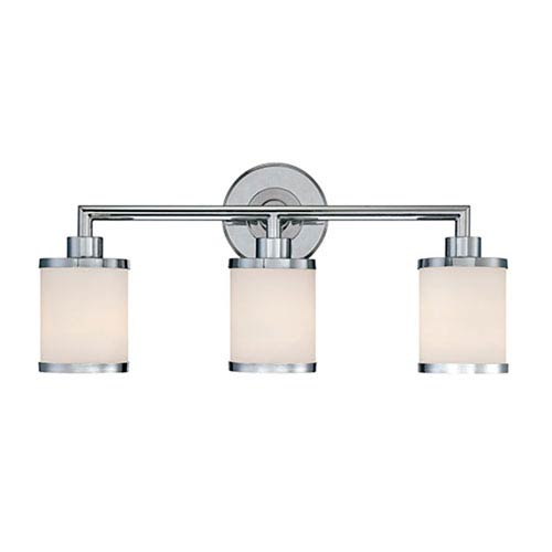 Millennium Lighting Chrome Three Light Vanity Fixture with Etched White Glass