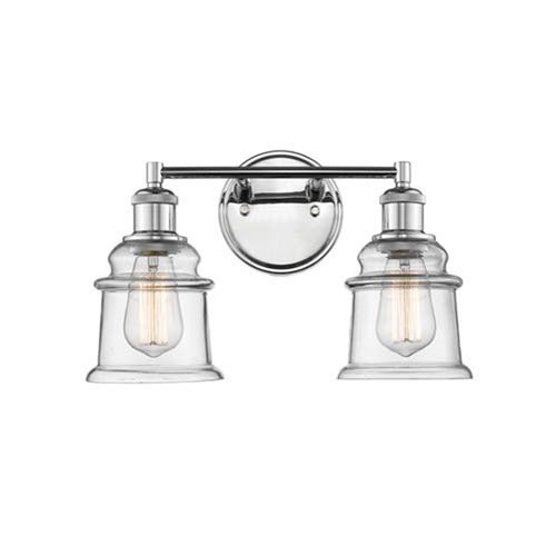 Chrome Two-Light Vanity with Clear Glass