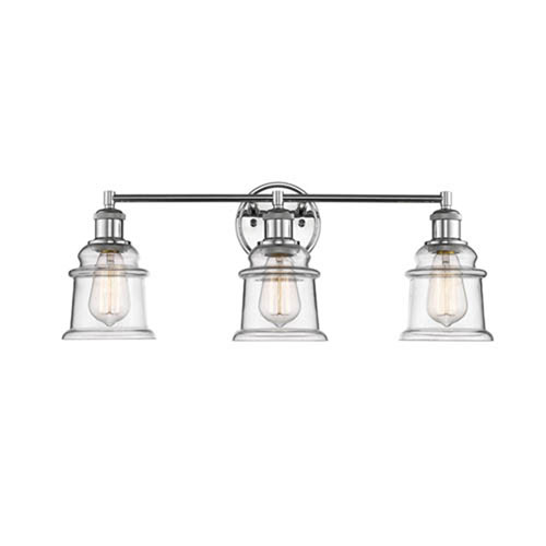 Chrome Three-Light Vanity with Clear Glass