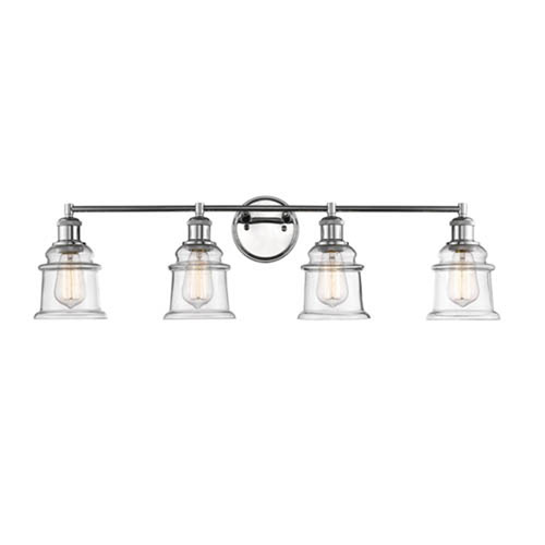 Millennium Lighting Chrome Four-Light Vanity with Clear Glass