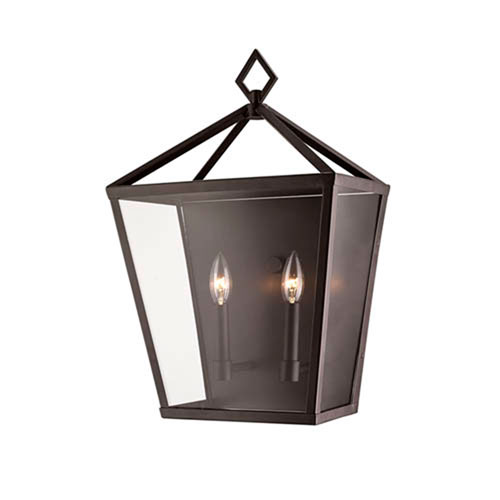 Powder Coat Bronze Two-Light Outdoor Wall Bracket with Clear Glass