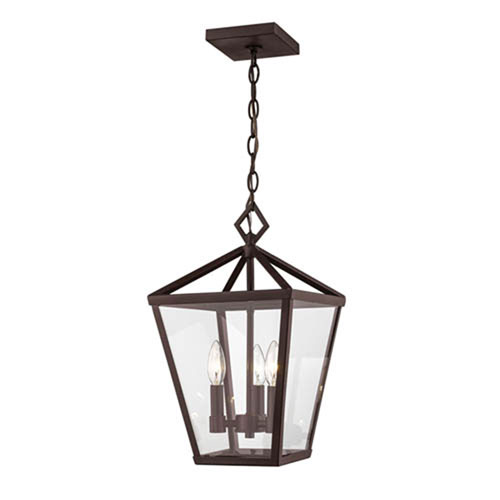 Powder Coat Bronze Four-Light Outdoor Hanging Lantern with Clear Glass