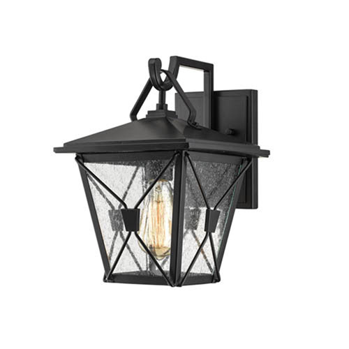Millennium Lighting Powder Coat Black One-Light Outdoor Wall Bracket with Clear Seeded Glass
