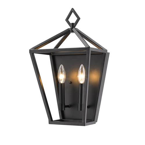 Millennium Lighting 2572-MB Corona Matte Black Two-Light Wall Sconce