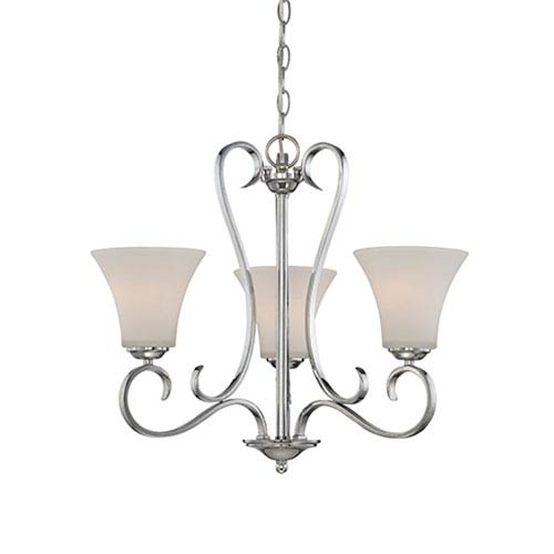 Millennium Lighting Fair Lane Chrome Three Light Chandelier with Etched White Glass