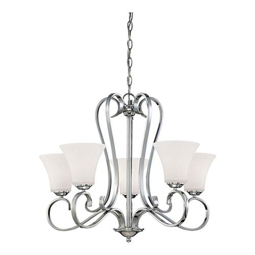 Millennium Lighting Fair Lane Chrome Five Light Chandelier with Etched White Glass