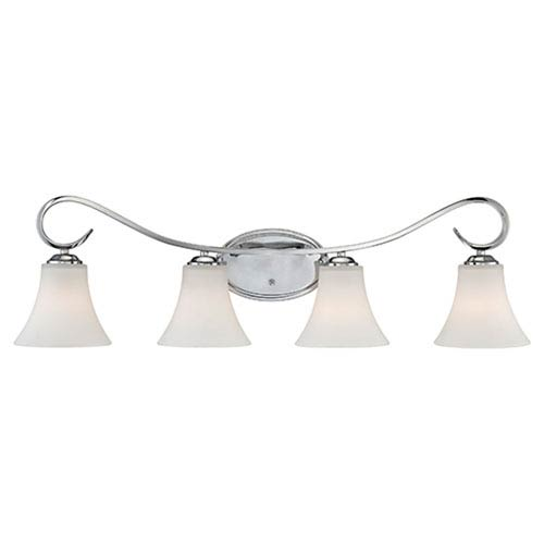 Fair Lane Chrome Four Light Vanity Fixture with Etched White Glass