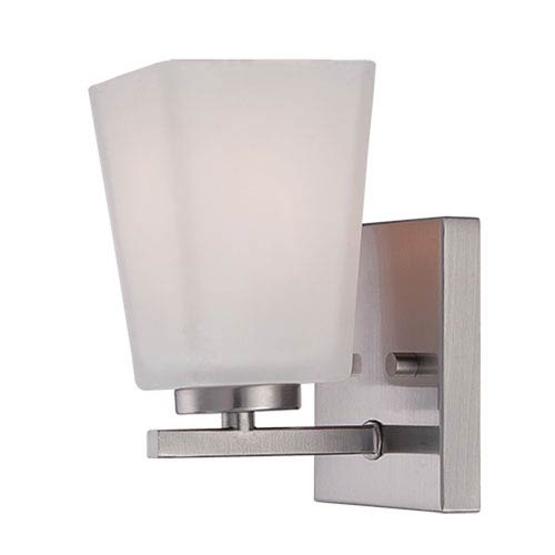 Millennium Lighting Brushed Nickel 4.5-Inch One-Light Vanity with Etched White Glass
