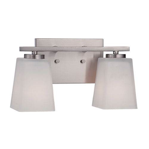 Millennium Lighting Brushed Nickel 12.5-Inch Two-Light Vanity with Etched White Glass