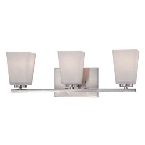 Millennium Lighting Brushed Nickel 21-Inch Three-Light Vanity with Etched White Glass