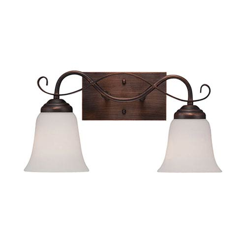 Millennium Lighting Kingsport Rubbed Bronze 16-Inch Two-Light Vanity with Etched White Glass
