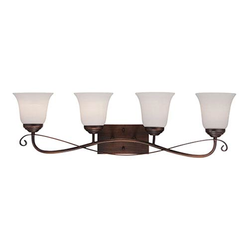 Millennium Lighting Kingsport Rubbed Bronze 32.5-Inch Four-Light Vanity with Etched White Glass