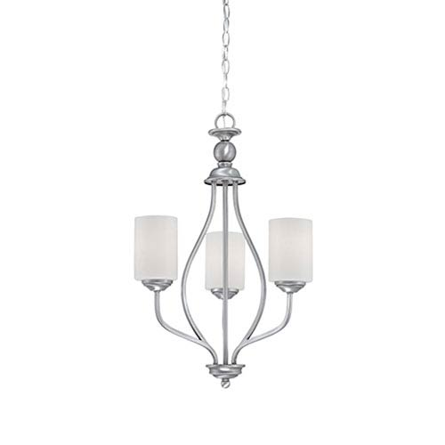 Millennium Lighting Lansing Brushed Pewter 13-Inch Three-Light Chandelier with Etched White Glass