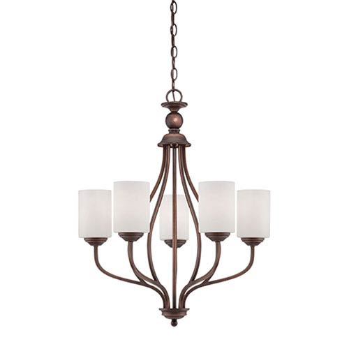 Lansing Rubbed Bronze 23-Inch Five-Light Chandelier with Etched White Glass