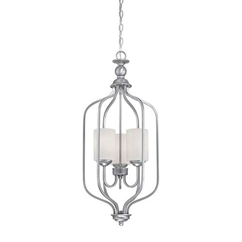 Millennium Lighting Lansing Brushed Pewter 13.5-Inch Three-Light Pendant with Etched White Glass