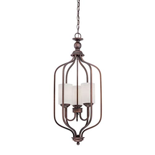 Millennium Lighting Lansing Rubbed Bronze 13.5-Inch Three-Light Pendant with Etched White Glass